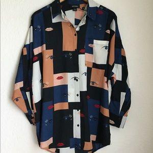 Monki Print Oversized Blouse Tunic Size Small